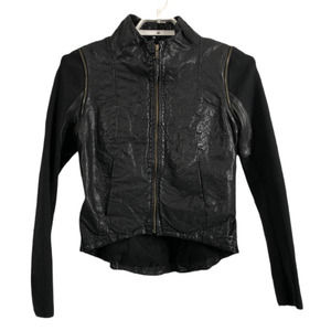 Improvd Women's M Black Cropped Leather Liz Jacket